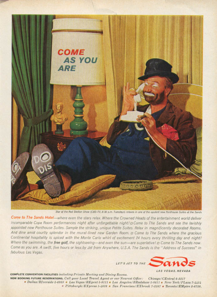Image for Red Skelton Come As You Are Sands Hotel ad 1963