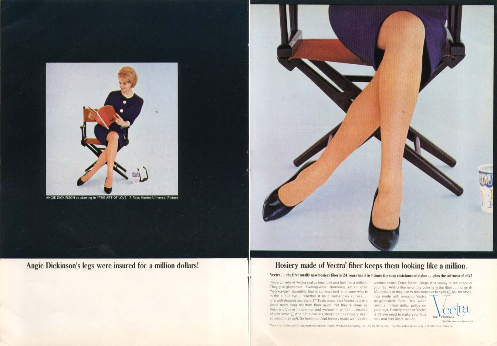 Angie Dickinson for Vectra fiber Hosiery ad 1964