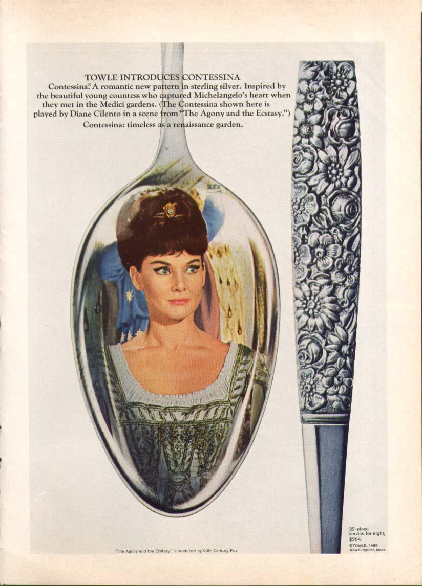 Image for Diane Cilento Towle Contessa Sterling Flatware ad 1965