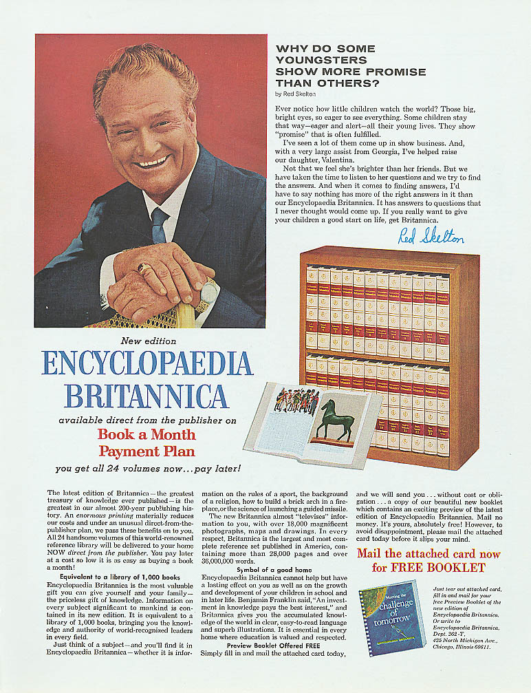Image for Red Skelton for Encyclopedia Britannica ad 1966 Saturday Evening Post