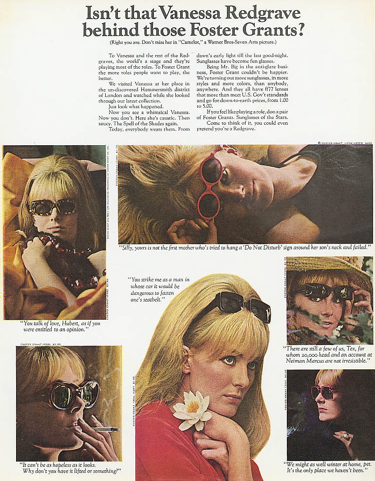 Image for Vanessa Redgrave for Foster Grant Sunglasses ad 1968
