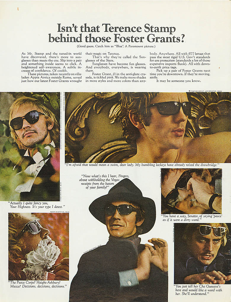 Image for Terence Stamp for Foster Grant Sunglasses ad 1968
