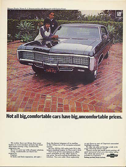 Image for Marguerite & O J Simpson for 1969 Chevrolet Caprice Coupe ad 1969