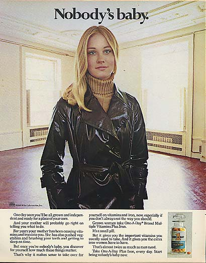 Image for Nobody's baby. Cybill Shepherd for One-A-Day Multivitamins ad 1969