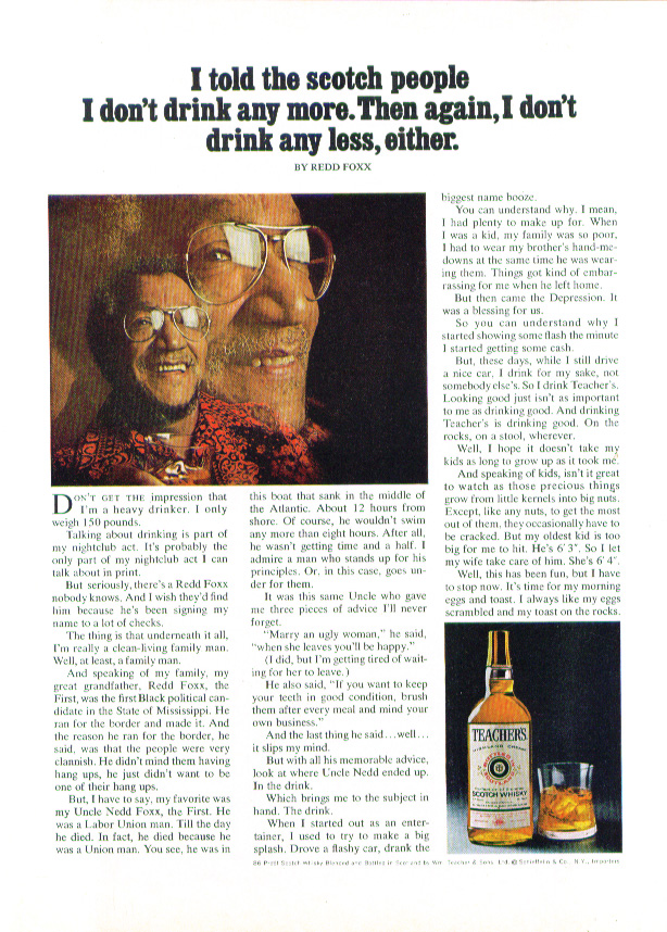 Image for Redd Foxx for Teacher's Scotch Whisky ad 1973