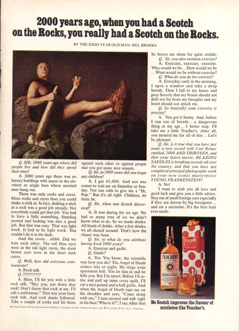 2000 Year Old Man Mel Brooks Teacher's Scotch ad 1974