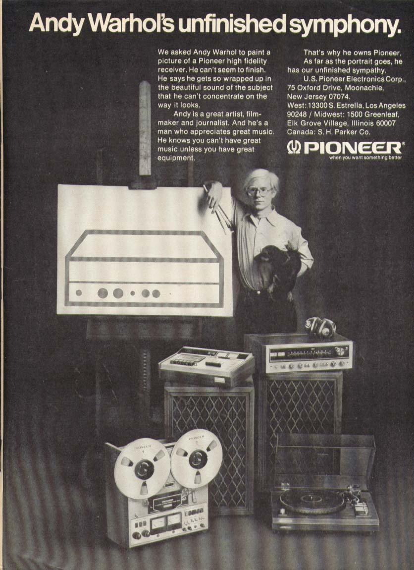 Andy Warhol for Pioneer Electronics ad 1974
