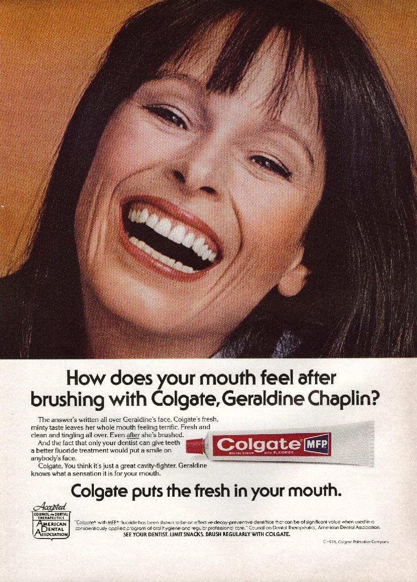 Geraldine Chaplin for Colgate toothpaste ad 1976