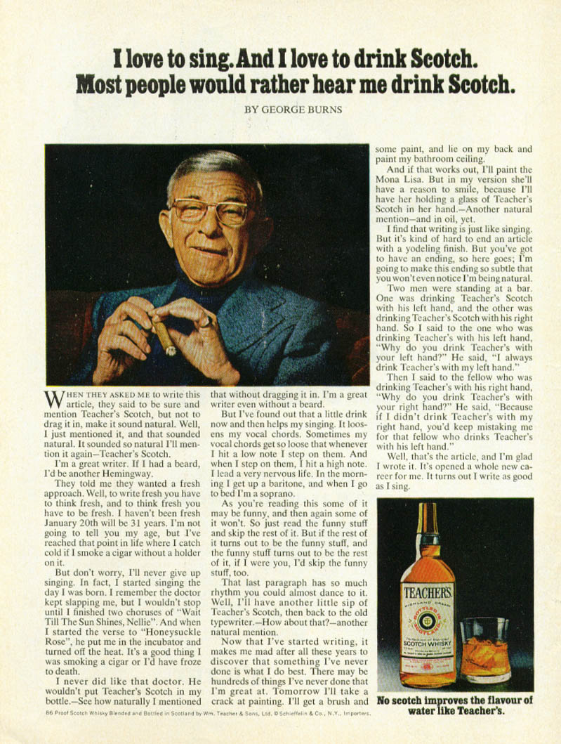 Image for George Burns for Teacher's Scotch ad 1979