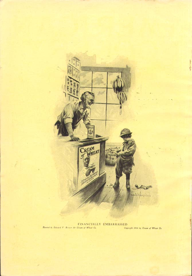 Image for Financially embarrassed in store Cream of Wheat ad 1917