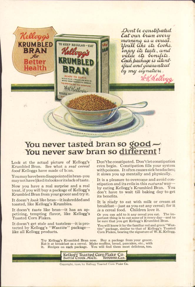Image for So good so different Kellogg's Krumbled Bran ad 1920