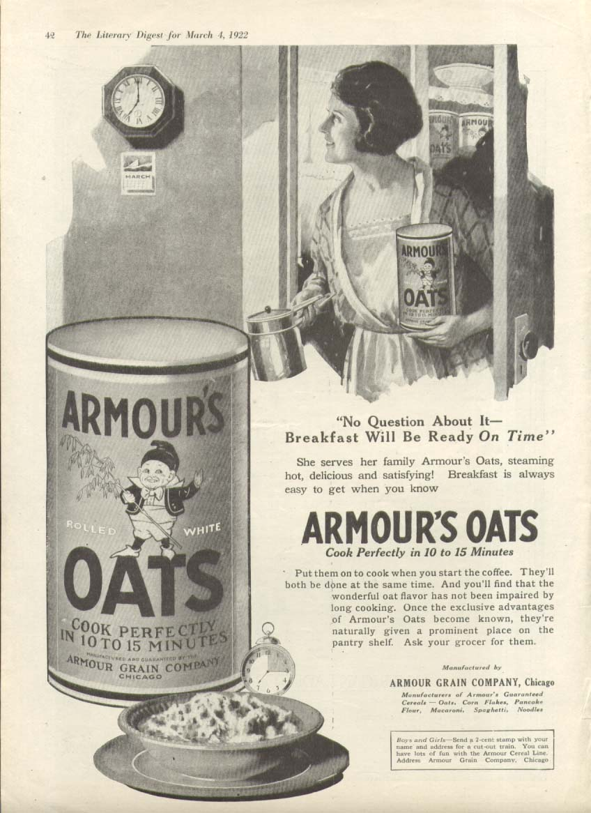 Image for No Question About It Armour's Oats Cereal ad 1922