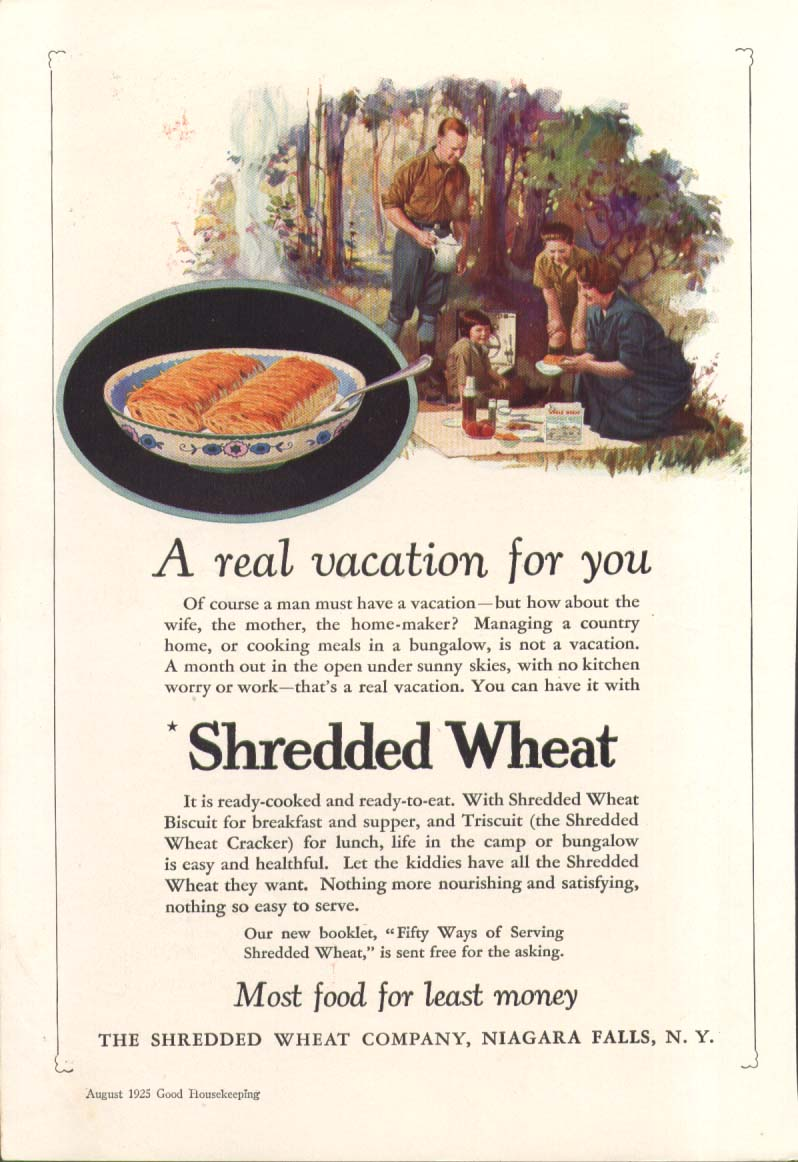 A real vacation for you Shredded Wheat picnic ad 1925