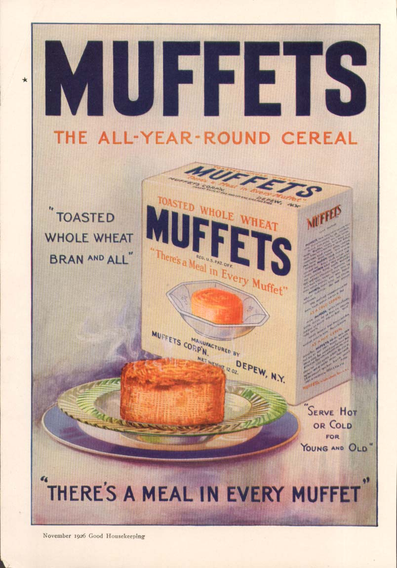 Image for All-Year Round Cereal Muffets Whole Wheat ad 1926