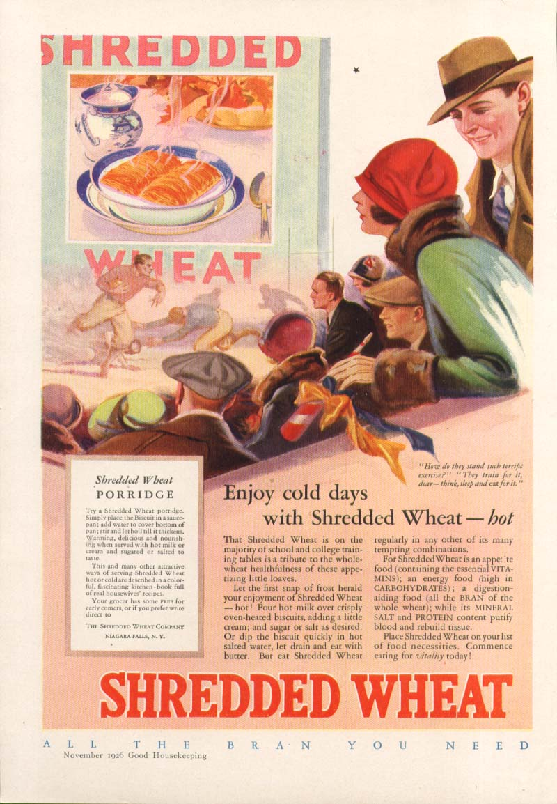 Image for Enjoy cold days Shredded Wheat Cereal football ad 1926