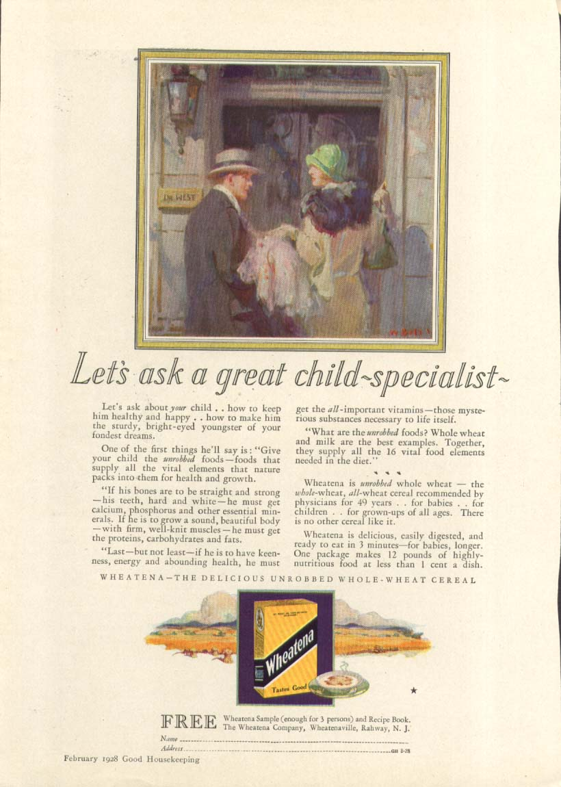 Image for Let's ask a great child-specialist Wheatena ad 1928