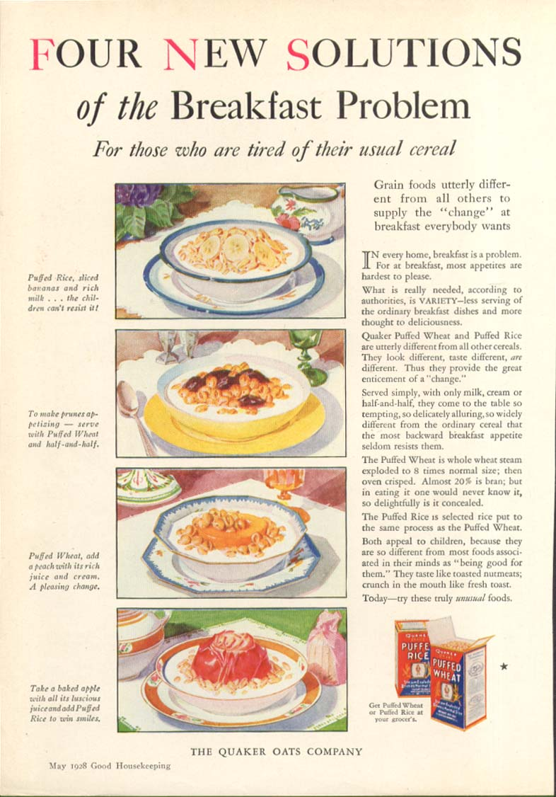 Image for Four New Solutions Quaker Puffed Rice & Wheat ad 1928