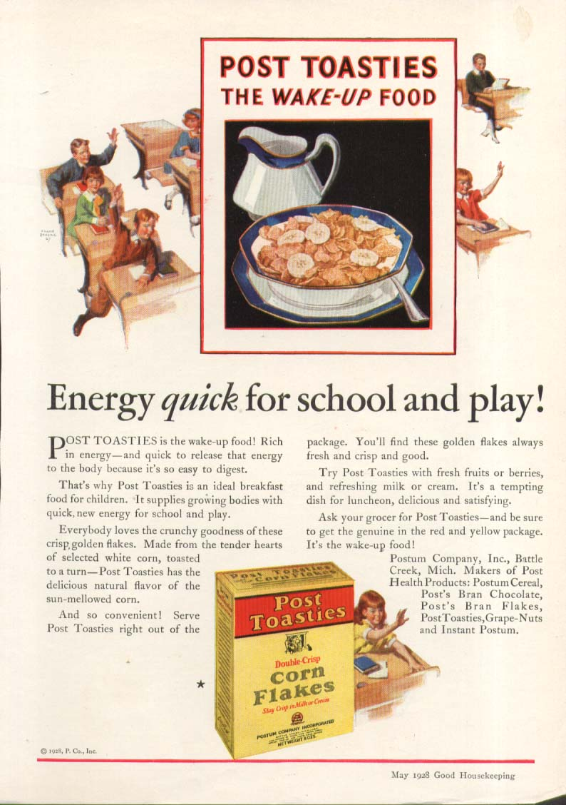 Image for Energy quick for school & polay Post Toasties ad 1928