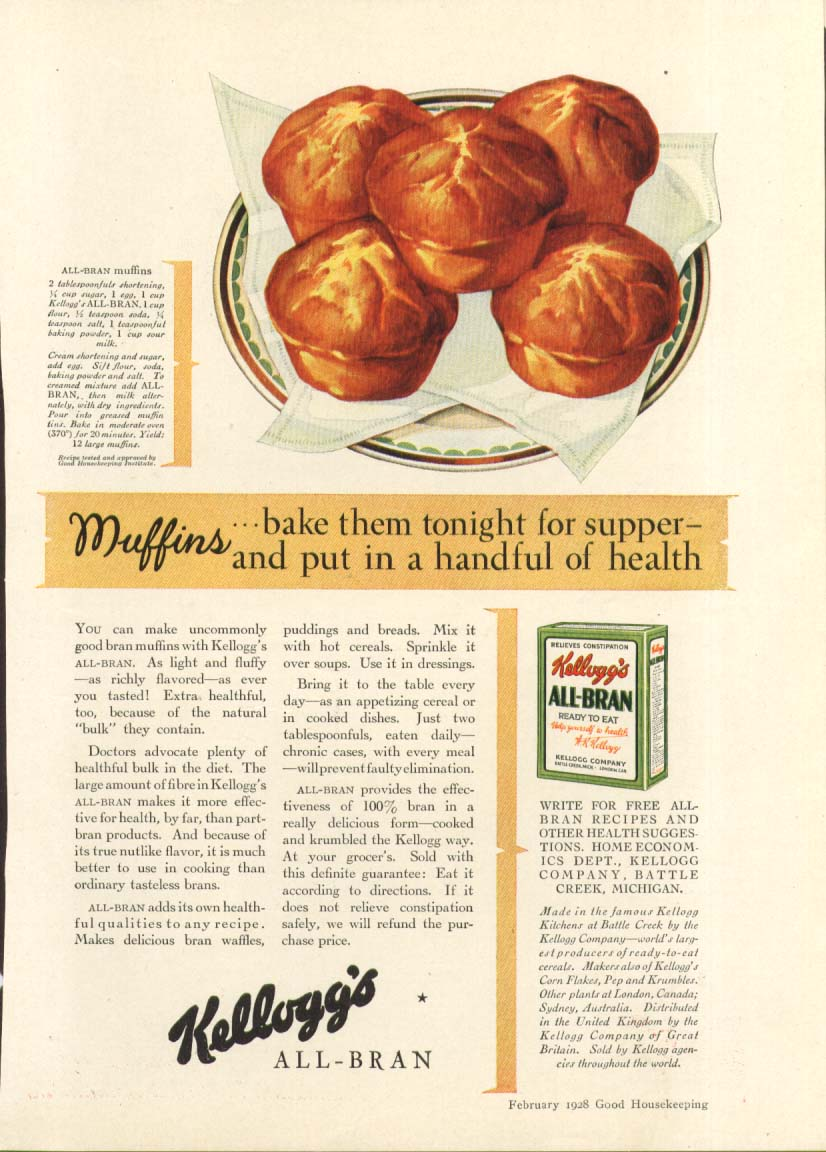 Image for Muffins bake them tonight Kellogg's All-Bran ad 1928