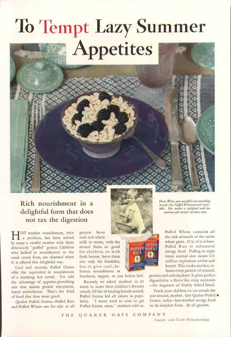 Image for Tempt Lazy Summer Appetites Quaker Puffed Rice ad 1929