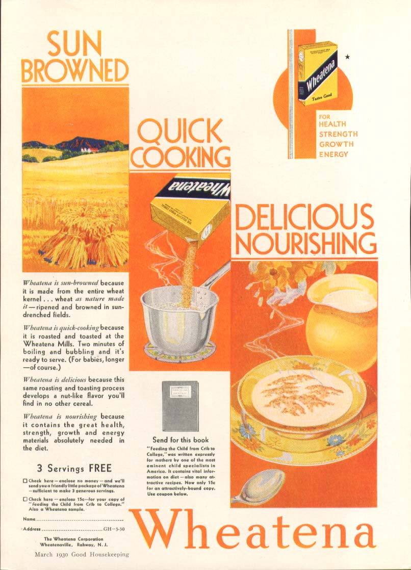 Image for Sun browned quick cooking delicious Wheatena ad 1930