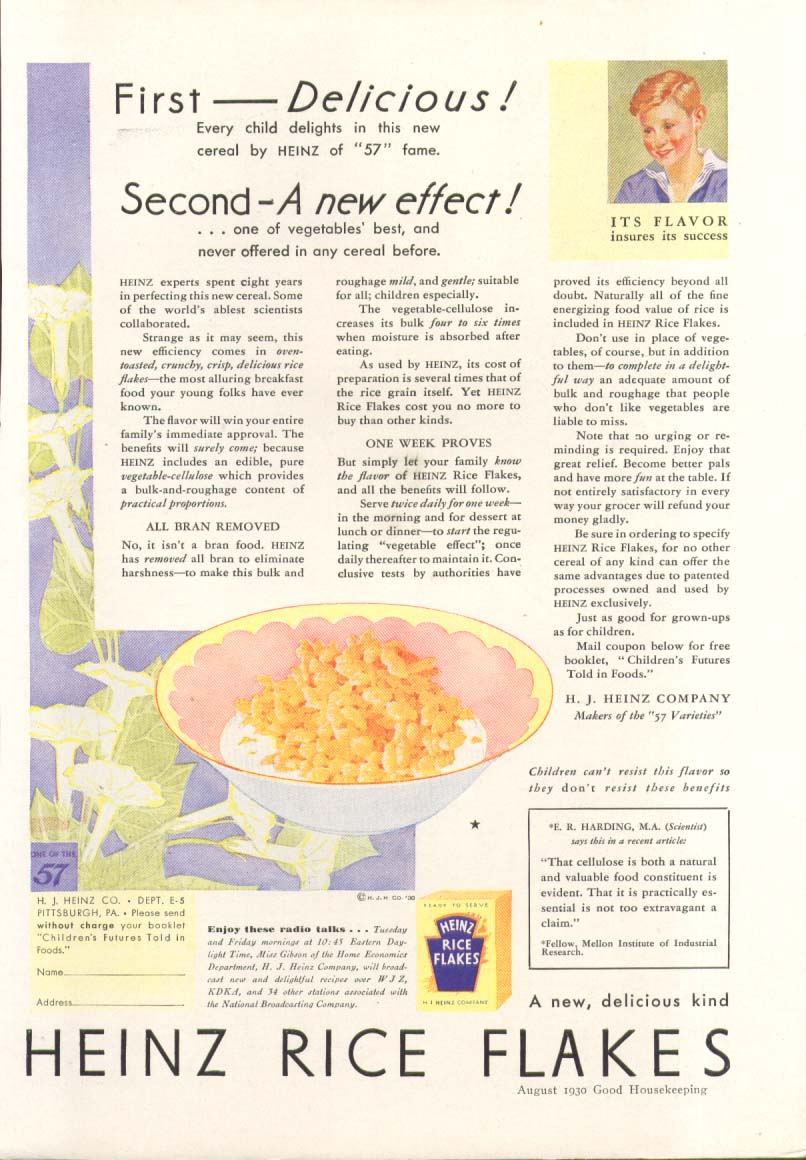 1st delicious 2nd new effect Heinz Rice Flakes ad 1930