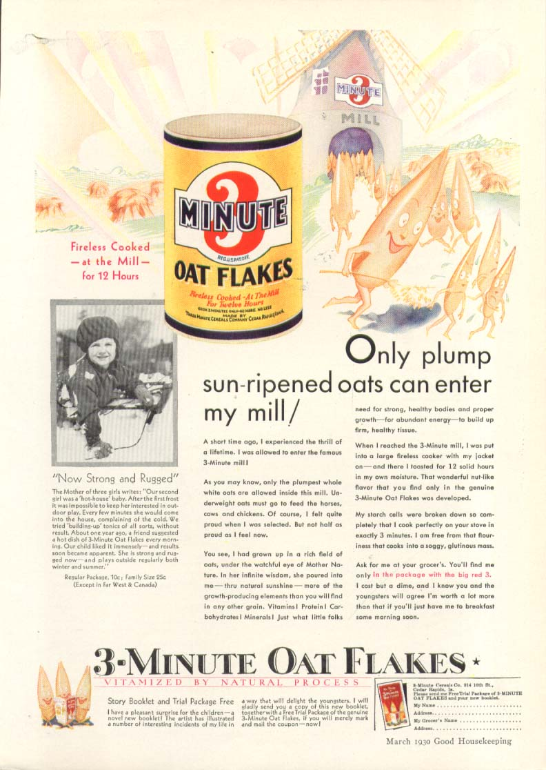 Image for Only plump sun-ripened oats 3-Minute Oat Flakes ad 1930