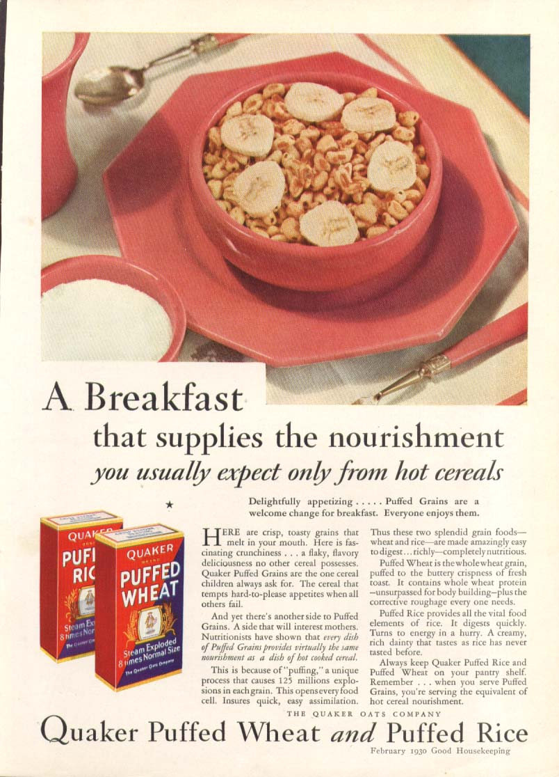 Image for Breakfast nourishment Quaker Puffed Rice Wheat ad 1930
