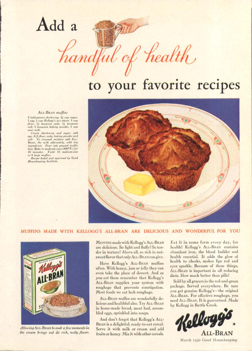 Add a handful of health Kellogg's All-Bran ad 1930