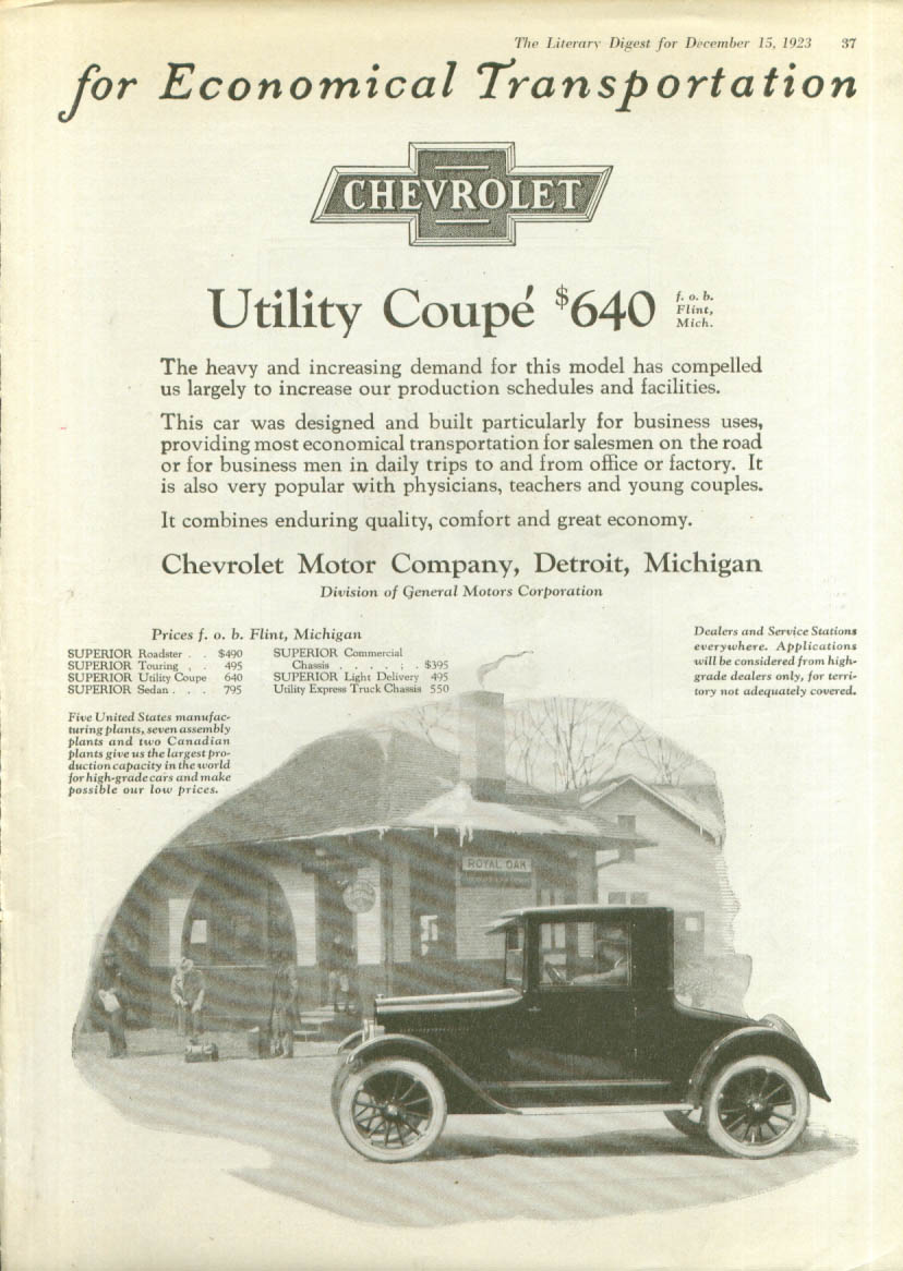 Image for Economical Chevrolet Utility Coupe ad 1923