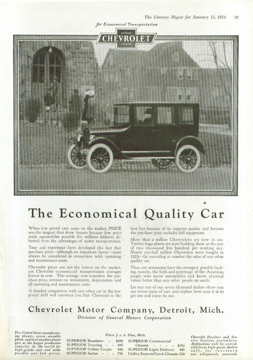 Image for Economical Quality Car Chevrolet ad 1924