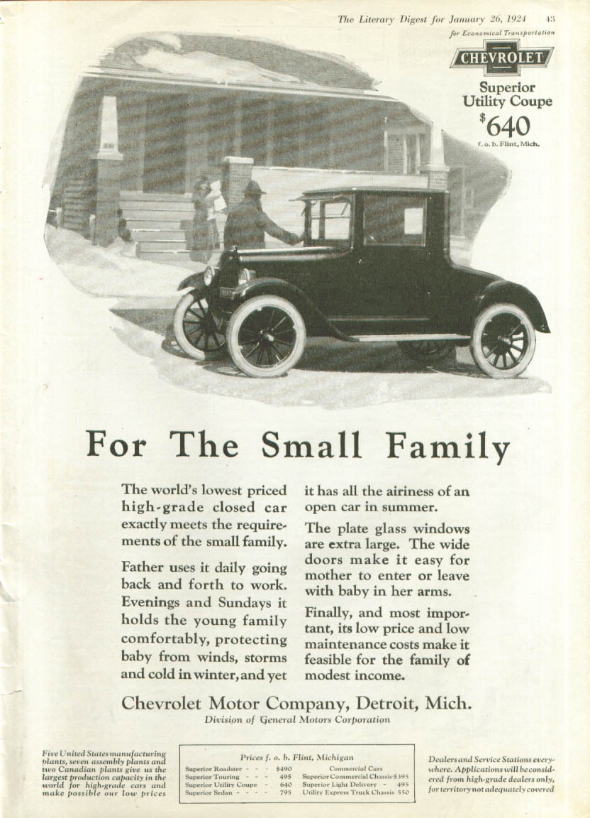 Image for For the Small Family Chevrolet Utility Coupe ad 1924