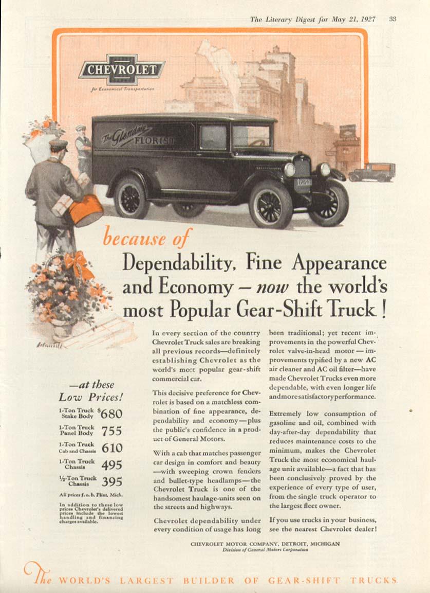 Dependability Fine Appearance Chevrolet Florist Van truck ad 1927