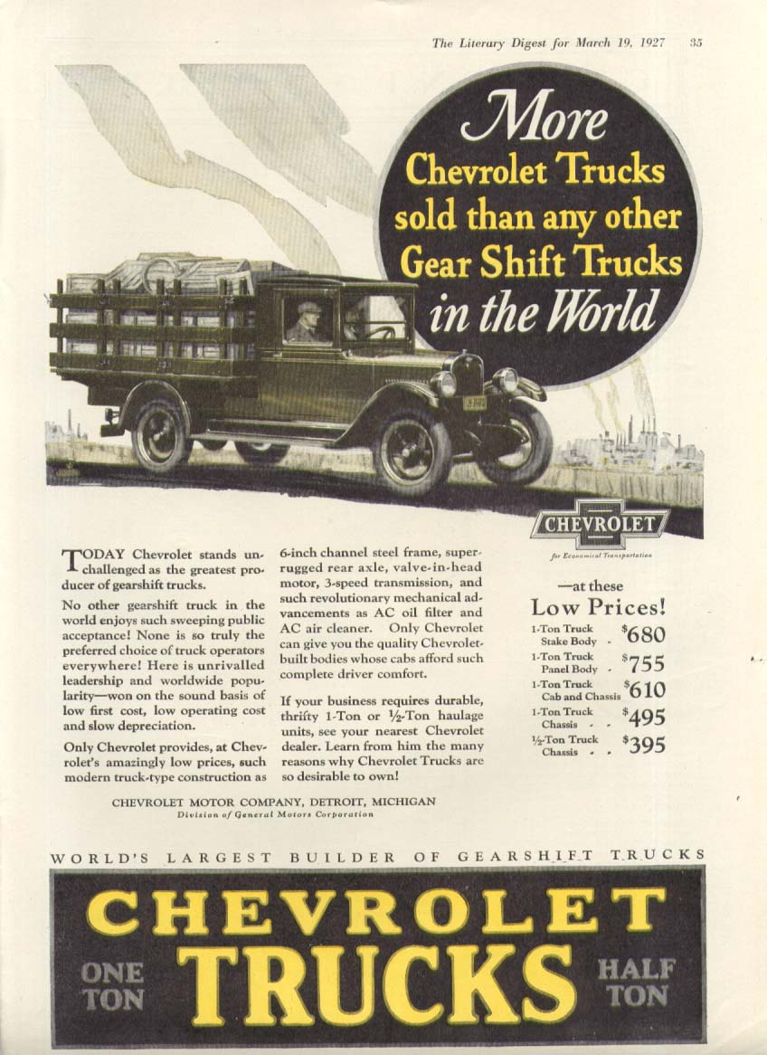 More sold than any other Gear Shift Trucks Chevrolet stake body ad 1927