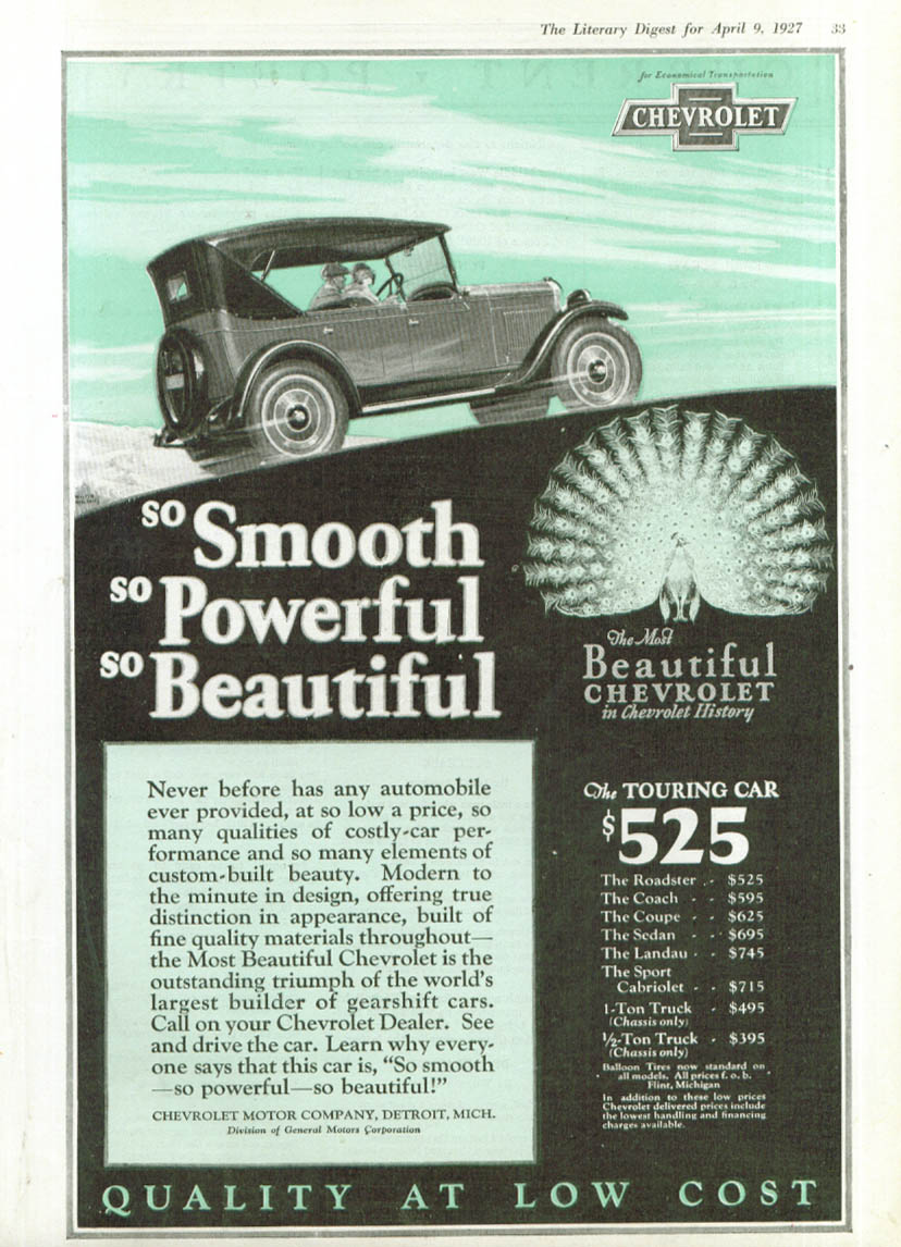 Image for Smooth Powerful Beautiful Chevrolet Touring Car ad 1927