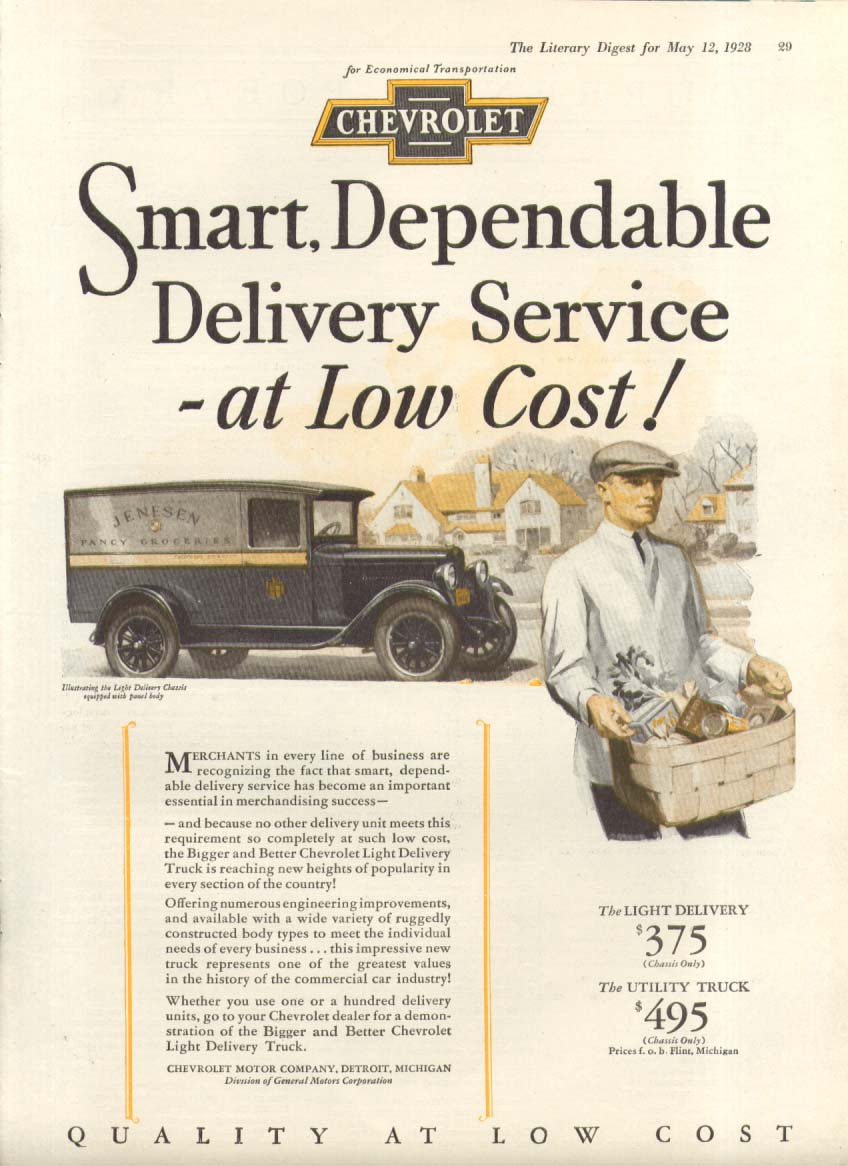 Smart Dependable Delivery Service at Low Cost Chevrolet Grocery Van  ad 1928
