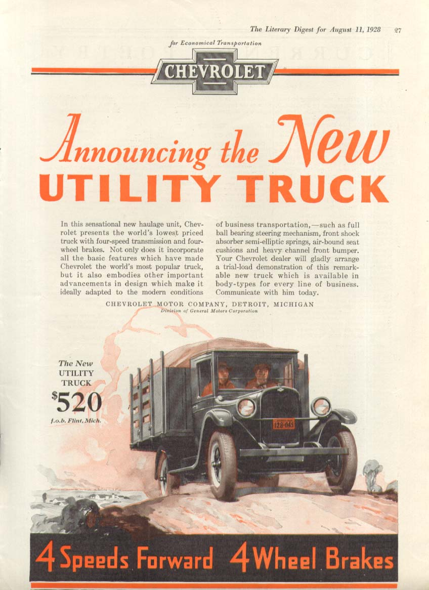 Announcing a New Utility Truck stake body Chevrolet Truck ad 1928