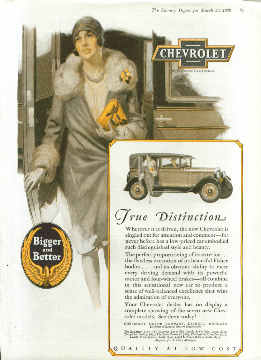 Image for True Distinction Bigger and Better Chevrolet ad 1928