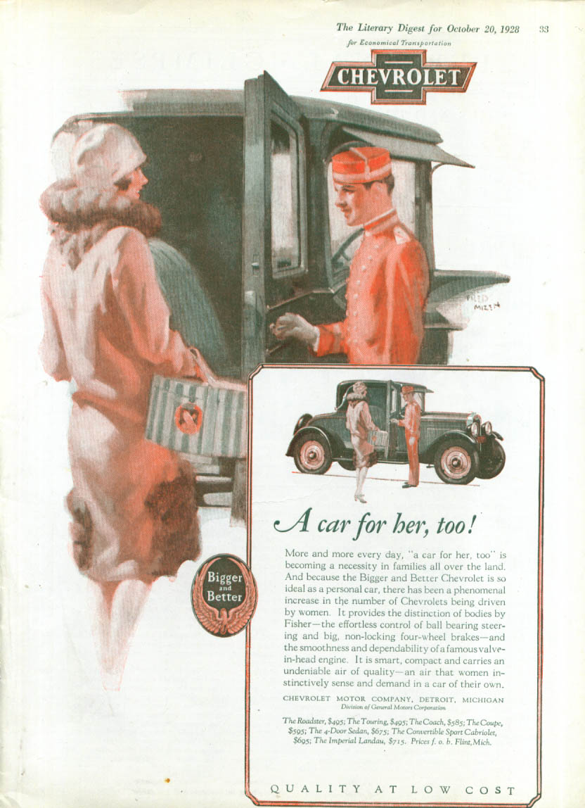A car for her, too! Chevrolet ad 1928