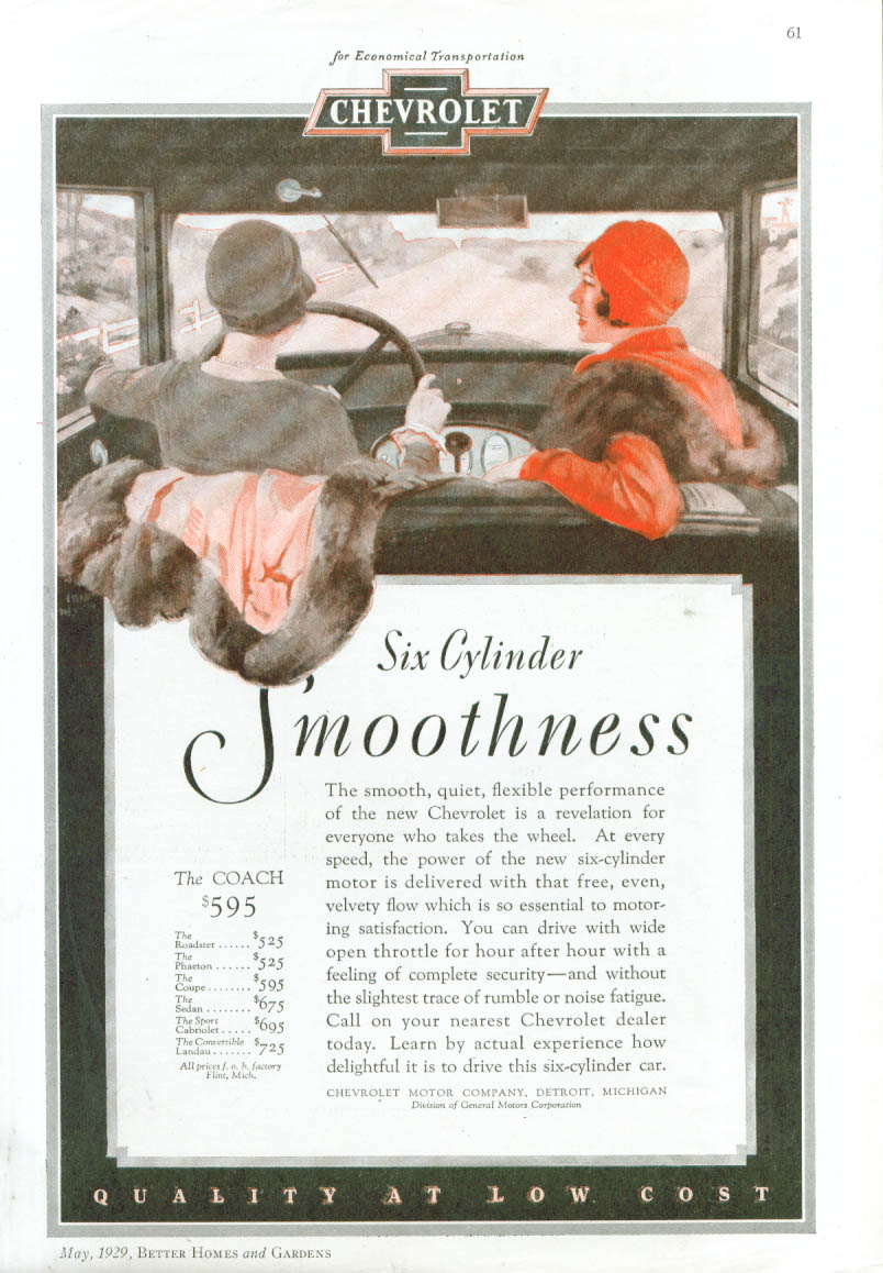 Image for Six Cylinder Smoothness Chevrolet Coach ad 1929