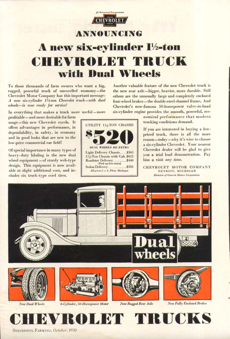 Announcing a new 6-cylinder 1 1/2 ton Dual Wheel Chevrolet Truck ad 1931