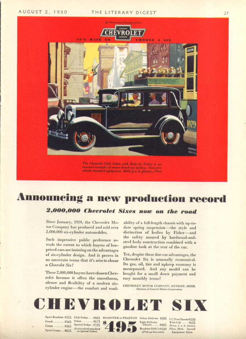 Announcing a new production record Chevrolet ad 1930