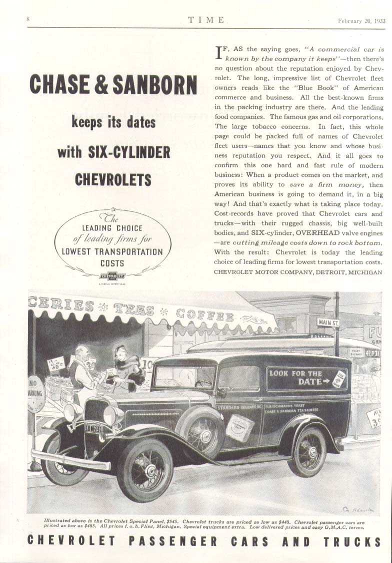 Chase & Sanborn keeps dates with 6-cylinder Chevrolet Panel Truck ad 1933