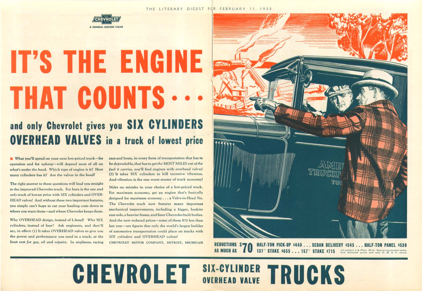 At 10,000 you've only begun Chevrolet Camel Cigarettes Sedan Delivery ad 1933