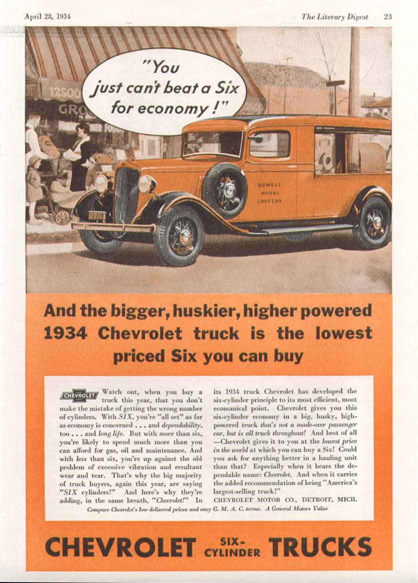 You just can't beat a six for economy Chevrolet Canopy Express Truck ad 1934