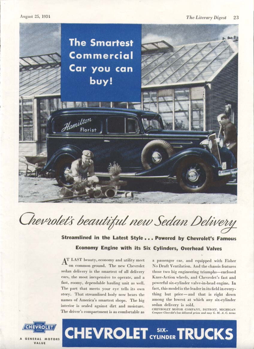 The Smartest Commercial Car You Can Buy Chevrolet Florist Truck ad 1934