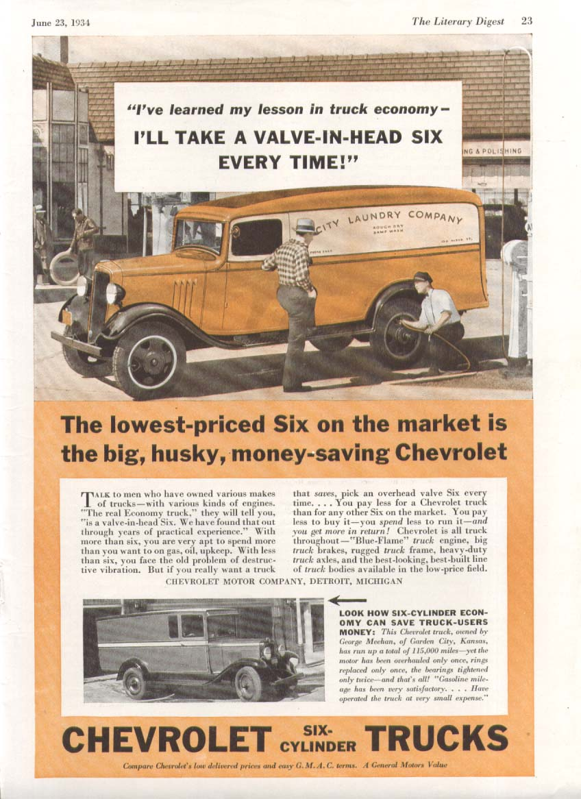 I've learned my lesson Chevrolet Laundry Van Truck ad 1934