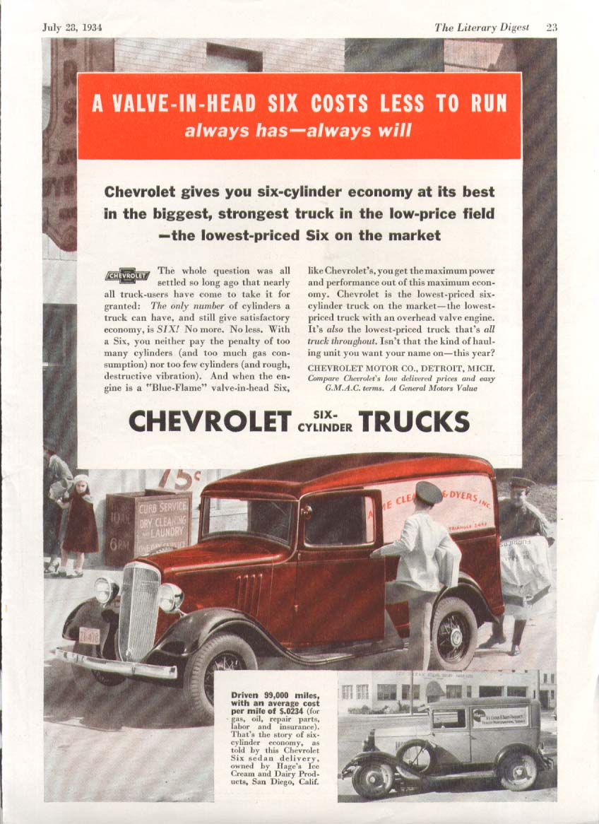 A Valve-In-Head Six costs Less to Run Chevrolet Cleaners & Dyers Van  ad 1934