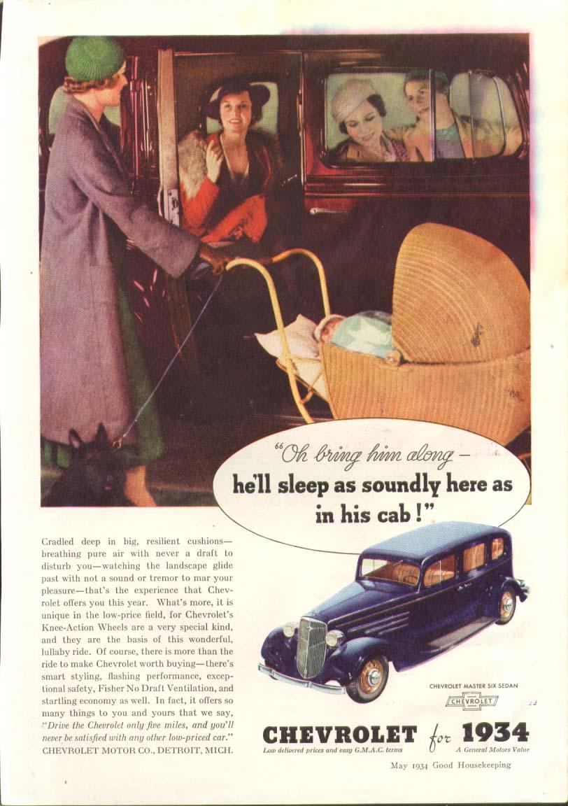 Bring him along he'll sleep soundly Chevrolet ad 1934