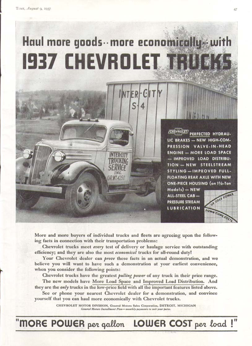 Haul more goods more econoimically Chevrolet Truck ad 1937